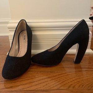 Miu Miu black felt heels